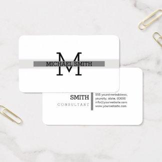 Cartes De Visite Trait horizontal gris moderne de monogramme