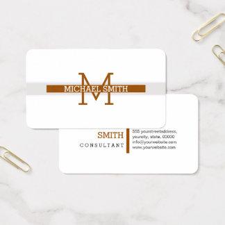 Cartes De Visite Trait horizontal moderne de Brown de monogramme
