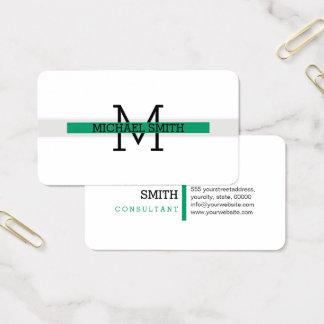 Cartes De Visite Trait horizontal Vert-cyan moderne de monogramme