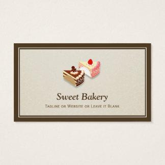 Cartes De Visite Tranche de fraise de chocolat de gâteaux - chic