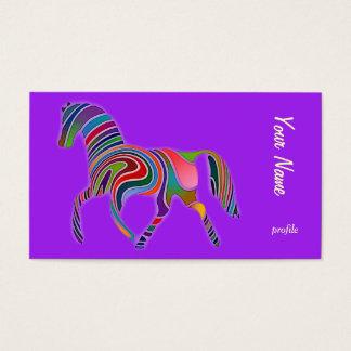 Cartes De Visite trot abstrait de cheval d'arc-en-ciel