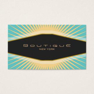 Cartes De Visite Turquoise chic de noir de boutique et rétro jaune
