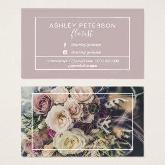 Cartes De Visite Typographie de cadre de fleuriste de photo