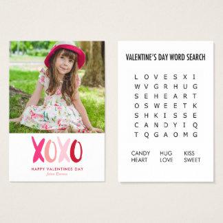 Cartes De Visite Valentines de salle de classe de photo de jeu de