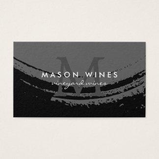 Cartes De Visite Verre de vin balayé artistique de monogramme