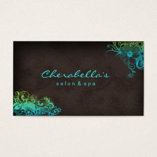 Cartes De Visite Vert bleu élégant Brown de spa floral élégant de