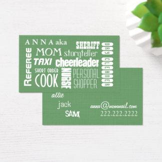 Cartes De Visite Vert moderne de télécarte de maman