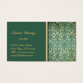Cartes De Visite Vert vintage de damassé