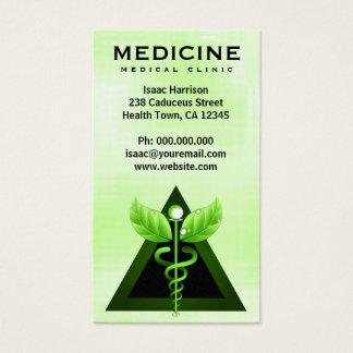 Cartes De Visite Verticale vert clair de caducée de médecine douce