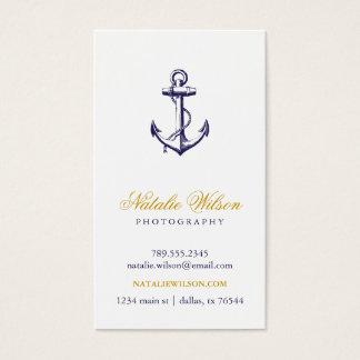 Cartes De Visite Verticale vintage d'ancre de bleu marine