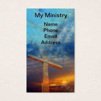 Cartes De Visite Vieille croix chrétienne contre un beau ciel