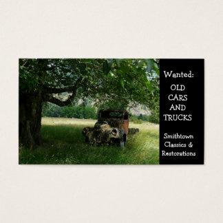 Cartes De Visite Vieux camion sous l'automobile vintage d'arbre