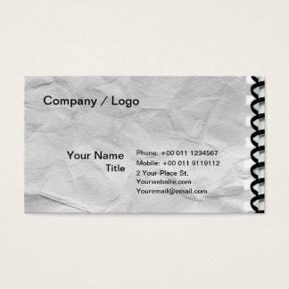 Cartes De Visite vieux carnet de papier avec la spirale
