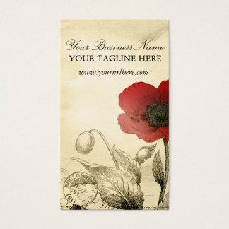 Cartes de visite vintages de pavot - éphémères