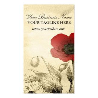 Cartes de visite vintages de pavot - éphémères flo carte de visite standard