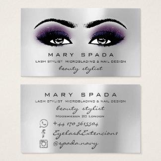 Cartes De Visite Violette grise d'Esthetician de mèches de sourcils