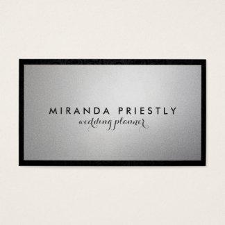 Cartes De Visite Wedding planner chic moderne d'aluminium noir et
