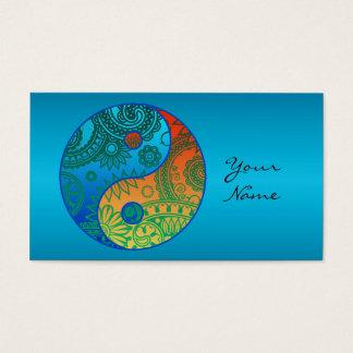 Cartes De Visite Yin modelé ID325 orange et bleu de Yang