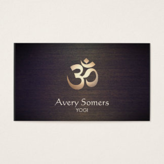 Cartes De Visite Yoga de symbole de l'OM d'or et regard du bois de
