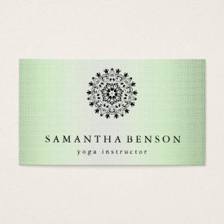 Cartes De Visite Yoga élégant de logo de fleur de Lotus noir et