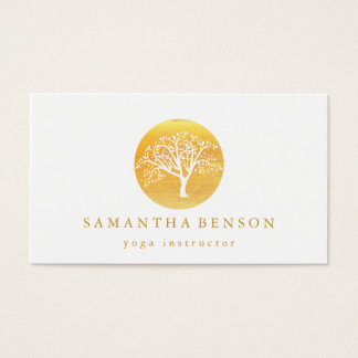 Cartes De Visite Yoga et méditation élégants d'arbre d'aquarelle
