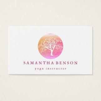 Cartes De Visite Yoga et méditation élégants d'arbre de