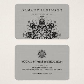 Cartes De Visite Yoga noir et gris élégant de logo de fleur