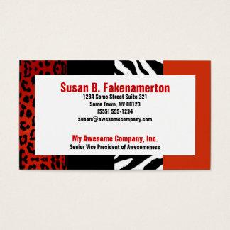 Cartes De Visite Zèbre et léopard rouges et noirs de poster de