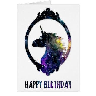 Cartes de voeux célestes d'anniversaire de licorne