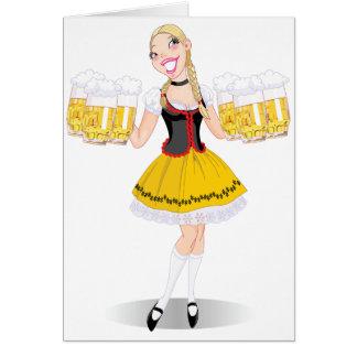 Cartes de voeux de bière de portion de fille