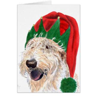 Cartes de voeux de Labradoodle d'aide de Père Noël