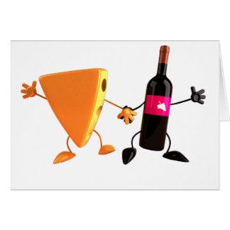 Cartes de voeux de vin et de fromage
