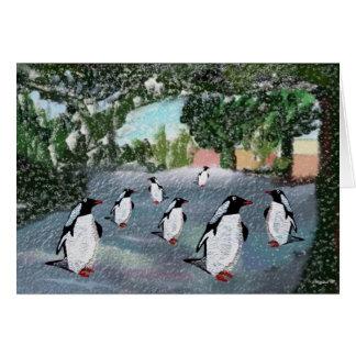 Cartes de voeux de Winterwonderland de pingouin