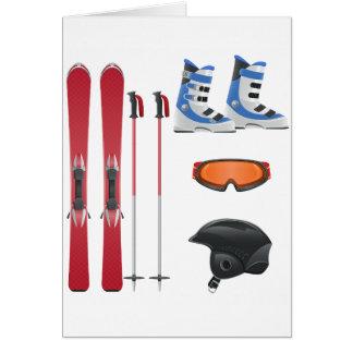Cartes de voeux d'équipement de ski