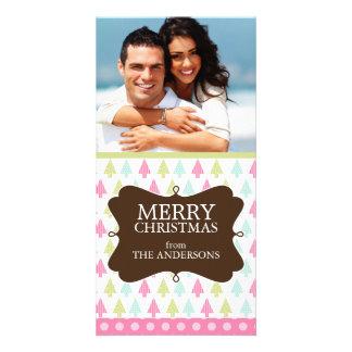 Cartes de voeux mignonnes de vacances d'arbres de photocarte personnalisée