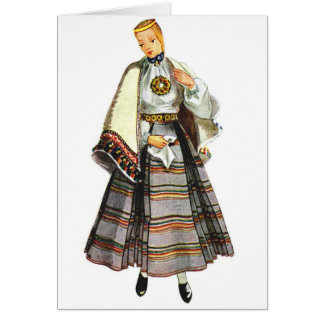 Cartes de voeux traditionnelles lettons de costume