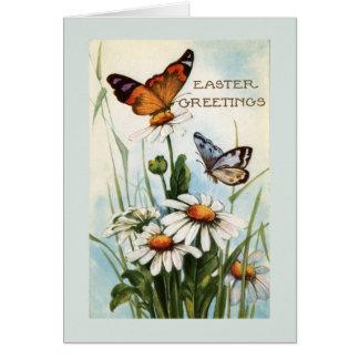 Cartes de voeux vintages de papillon de Pâques