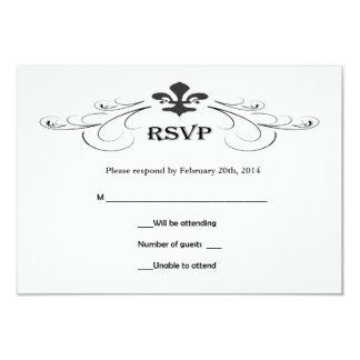 Cartes décoratives de Scroll Fleur de Lis Wedding Carton D'invitation 8,89 Cm X 12,70 Cm