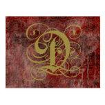 Cartes décorées d'un monogramme de style antique d carte postale