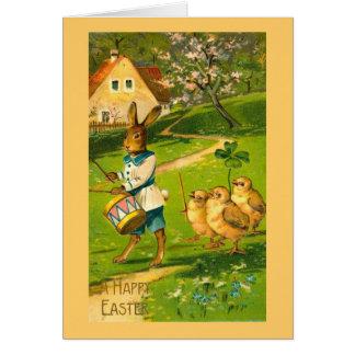 Cartes Défilé de Pâques avec le lapin et les poussins