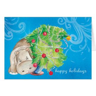 Cartes Dégringolade d'arbre d'hippopotame et de Noël