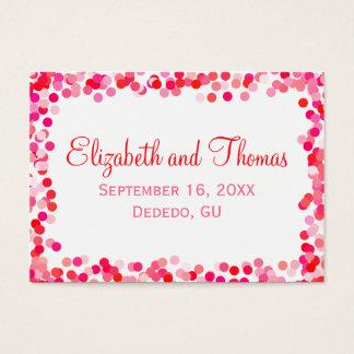 Cartes d'endroit de mariage de confettis