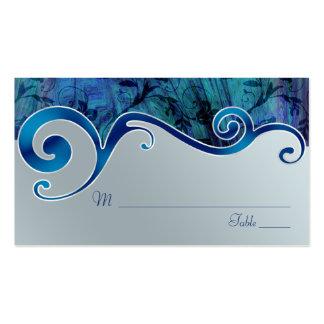 Cartes d'endroit de mariage de gris bleu et argent carte de visite