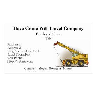 Cartes d'entreprise de construction de grue carte de visite standard