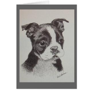 Cartes Dessin à l'encre de Boston Terrier
