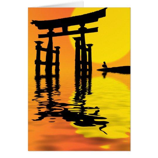 Cartes dessin de coucher du soleil de torii de japonais - Dessin coucher de soleil ...