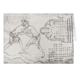 Cartes Deux lutteurs, plan d'une église cistercienne