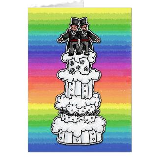 Cartes Deux mariés sur le gâteau de mariage d'arc-en-ciel
