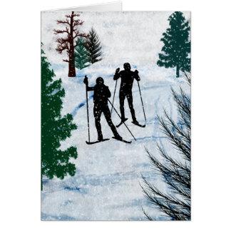 Cartes Deux skieurs de pays croisé