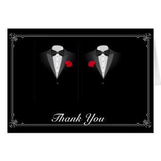 Cartes Deux smokings avec le Merci gai de mariage de rose